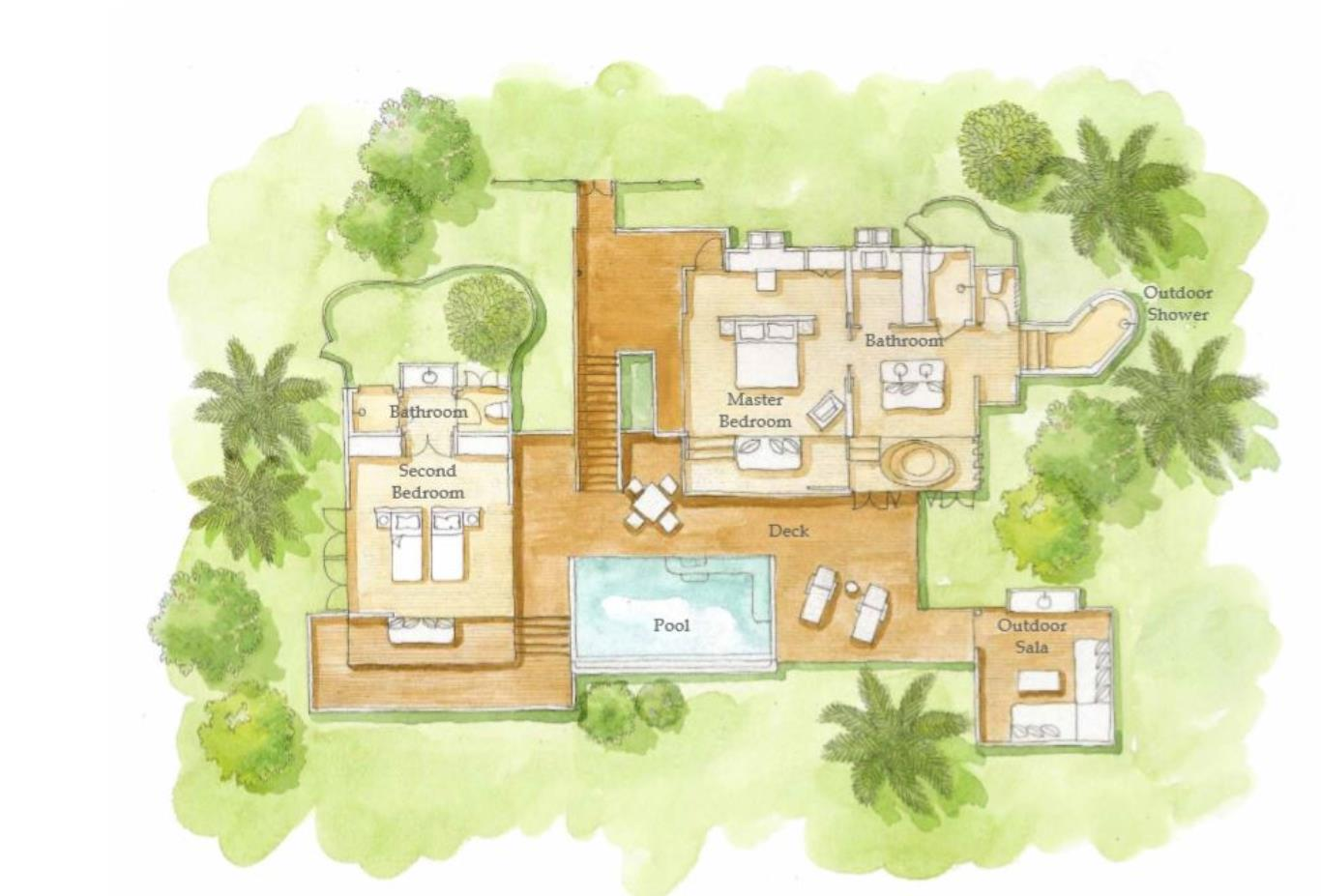 Floorplan Ocean 2 Bed Pool Villa